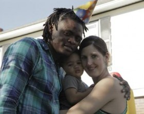 Pallaso with his wife and their kid.