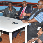 L-R: KCC FC officials Secretary David Tamale, Allan Sewanyana, FUFA President Eng. Moses Magogo, FIFA Development Officer Ashford Mamemlodi and FUFA CEO Edgar Watson at a press conference in 2014 when they announced he plans for installing an artificial turf on the Philip Omondi stadium.