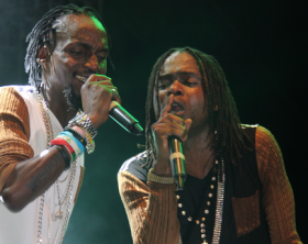 Radio and Weasel on stage