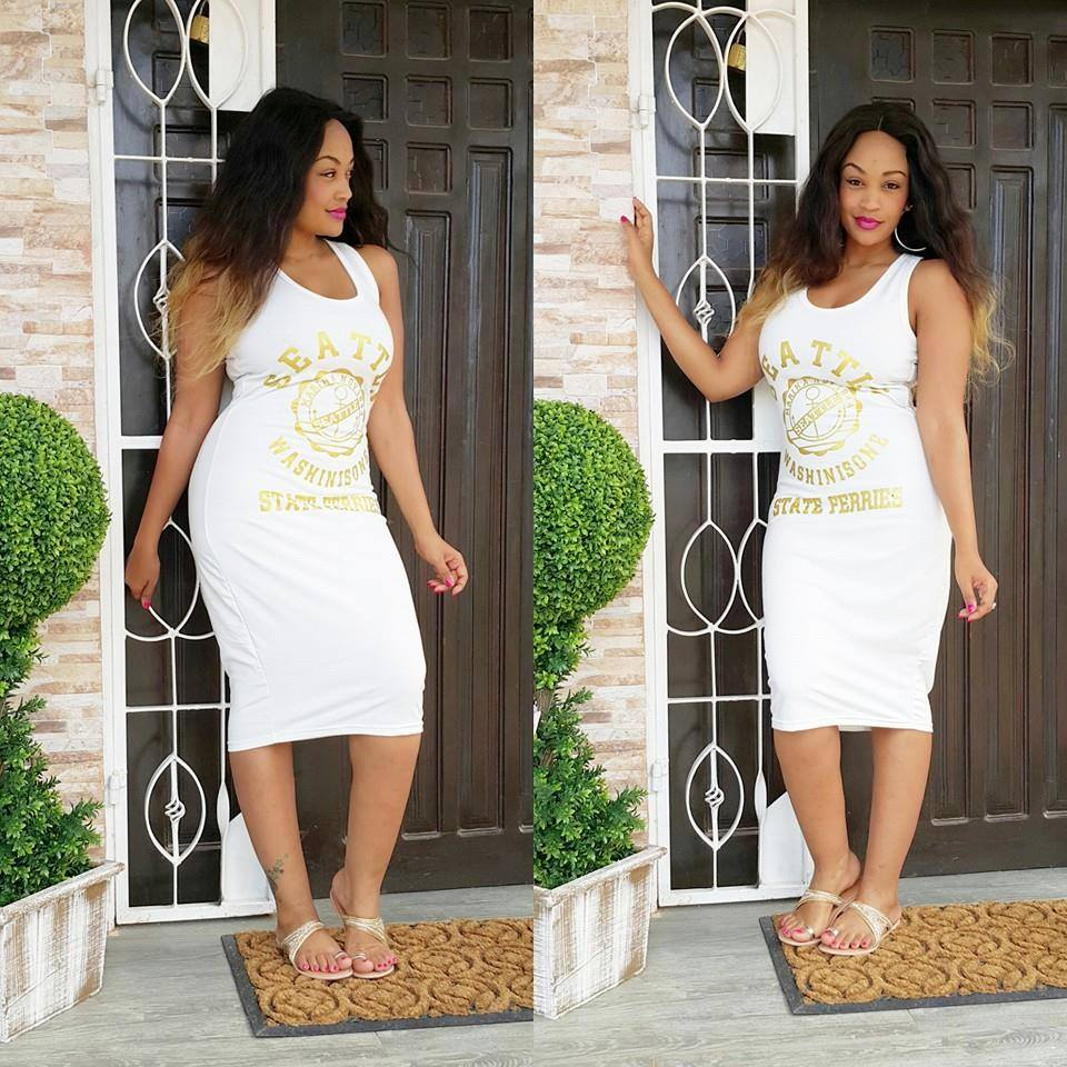 Zari outside her house in Tanzania looking lovely.