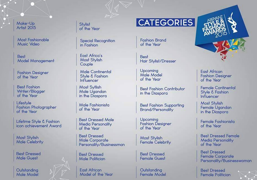 New categories introduced for abryanz style fashion awards 2015 Fashion style categories list