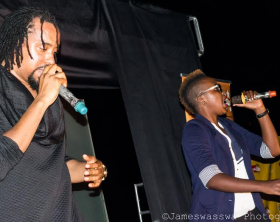 "Keko joins Navio on stage at ""The Chosen"" album release party. Keko collaborated with Navio on his new album."