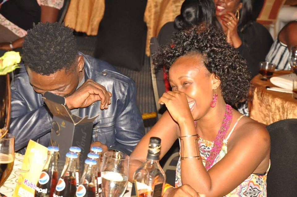 Bobi Wine and Barbie enjoying the comedy