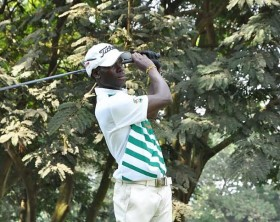 Ronald Otile takes a swing during the first round of the Tusker Malt Uganda Open.