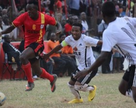 Uganda Cranes Keziron Kizitoin action against a Buganda Regional select side