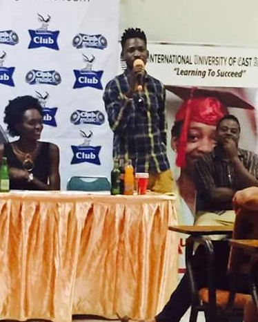 Bobi Wine addressing students at the launch of the Mr & Miss IUEA 2016/17 pageant.
