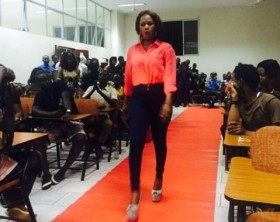One of the students auditioning for the Mr & Miss IUEA 2016/17 pageant.