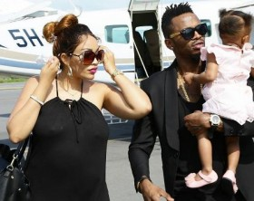 Diamond Platnumz and Zari with baby Tiffah
