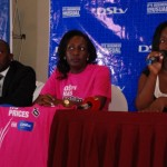 L-R: DStv Sales Manager John Kiryowa, DStv Marketing Manager Phoebe Nakabbazi and PR Manager MultiChoice Uganda Tina Wamala during a press conference announcing the a price cut in DSTV subscription.