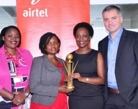 Airtel Uganda officials led by the Managing Director, Mr Anwar Soussa pose for a group photo with the best CSTR campaign award.