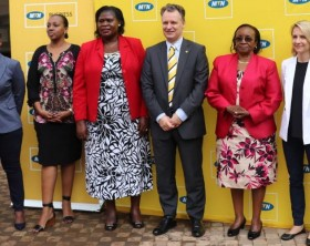 MTN CEO Wim Vanhelleputte (3rd Right) and MTN CMO Mapula Bodibe (extreme left) poses for a group photo with some of the winners of 2016 MTN Women in Business awards who are travelling to south Africa for a week-long trip to learn, share experience and tour similar SME Businesses in Cape Town and Johannesburg.