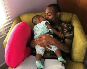 Davido with daughter Imade