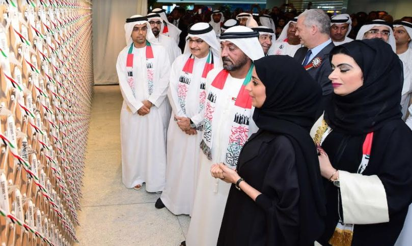 His Highness unveiled a special collage consisting of 1,400 aircraft during the UAE National Day celebrations at EGHQ.