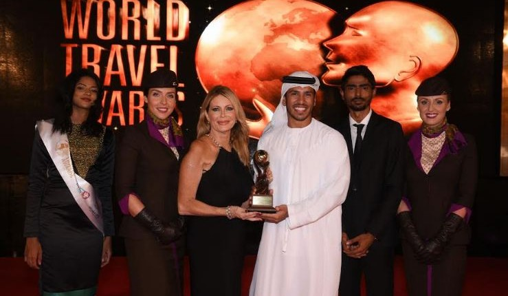 Linda Celestino, Etihad Airways' Vice President Guest Services and Abdulrahman Al-Hadhrami, Manager Marketing Communications, accept the awards for 'World's Leading Airline' and 'World's Leading Airline - First Class' during the 23th World Travel Awards held in the Maldives.