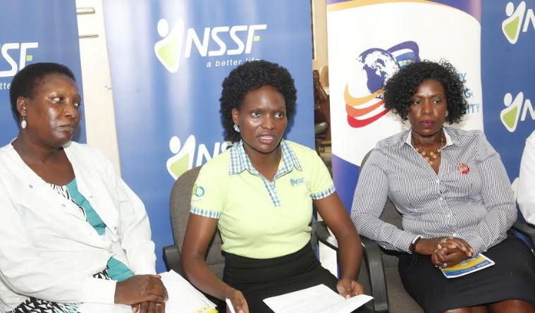 Dr.Annet Kutesa, a Senior lecturer at Makerere University, Barbra Arimi Head of Marketing and Communication NSSF, Margaret Nakajanko, President Rotary Kampala North at the Press Launch of the Dental Camp.