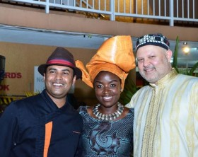 The GM of Sheraton Kampala Hotel (R) Mr. Jean Philippe Bittencourt pose for a photo with Sheraton 's PR Mrs. Jacqueline Nalubega Mugisha (C) and Chef a Sheraton Chef at the SPG Pro awards dinner.