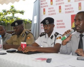 Uganda Breweries Corporate Relations Manager David Onyango addressing the press during the launch of the Red Card Campaign. Looking on is Norman Musinga, Kampala Metropolitan Traffic Commander, Frank Kugonza, Commissioner of Police Inspectorate of Vehicles and Aaron Tindiseega, Operations Manager Uber Uganda.