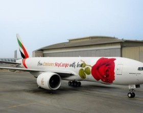 Emirates SkyCargo, the freight division of Emirates airline, has unveiled a unique decal featuring a rose on one of its Boeing 777-F freighter aircraft to celebrate Valentine's Day.