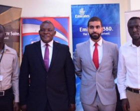"L-R: Robert Semakula, from Vision Group, Geoffrey Kubinga, Airport Services manager Emirates, Mohammad Al Attar Emirates country manager, Uganda and Keith Kuyih from Vision Group pose for a group photo during the launch of ""Tukuzaayo e Dubai"" promotion"