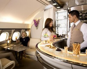 Inspired by private cabins, Emirates next generation A380 Onboard Lounge offers a luxurious space for socializing or relaxing.