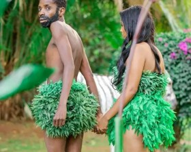 Eric Omondi and his girlfriend Chantal Juliet Grazioli play Adam & Eve in the garden of Eden.