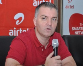 Airtel Uganda Managing Director, Anwar Soussa addresses media during the launch of Airtel Wewole service at Airtel Uganda head offices.