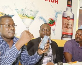 Uganda Breweries Marketing Manager-Spirits, Edgar Birungi, addressing the press during the launch of the UBL online platform on Jumia. Looking on is Neville Igasira, Jumia Food Head of Marketing and Dennis Nyunyuzi, the Brands Vendor Manager. Jumia UG.