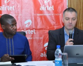 Airtel Uganda Managing Director, Anwar Soussa (R) gives a speech during the event to announce the investment partnership with BCS and Facebook. Looking on is Facebook African Public Policy manager Kojo Boakye.