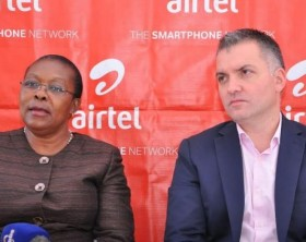 Dr. Dorothy Kyeyune Byabazaire, the Director Uganda Blood Transfusion Service addressing the media during the launch of the blood donation drive at Airtel offices. Looking on is Airtel Uganda Managing Director, Mr. Anwar Soussa