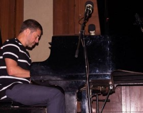 French Jazz composer and pianist Laurent Assoulen performs at the Sentire perfume concert