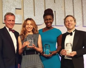 Stanbic Bank's Corporate communications and CSI Manager Cathy Adengo (2nd right) receives Stanbic Uganda's award for 'Best Bank' in Uganda at the Euro Money Awards together with representatives from Standard Bank Group who also received awards for Best Wealth Management and Best Investment Bank in Africa.