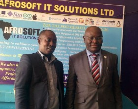 Afrosoft boss Ronald Katamba shares a moment with CTO General with Hon. Shola Tylor during the incubation hub.