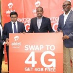 Airtel Managing Director, Mr. V.G Somasekhar (2nd Left), Minister of ICT Hon. Frank Tumwebaze and other officials launching the 4GLTE technology.