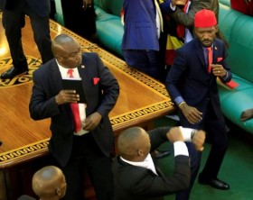 Bobi Wine during the chaos in Parliament
