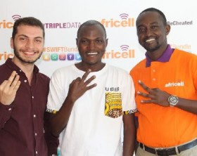 L-R: Africell Marketing Manager Mohammed Yahfoufi, Uber Country Manager Aaron Tindiseega and Africell Public Relations Manager Edgar Karamagi at the launch