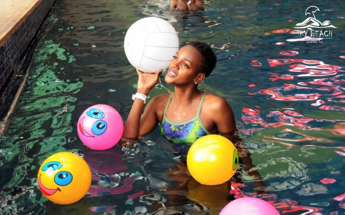 The Carribean pool chills party at SkyBeach Freedom city rooftop