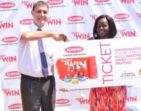"""Judith Ajambo, one of the winners in the """"Paint and Win"""" promotion"""