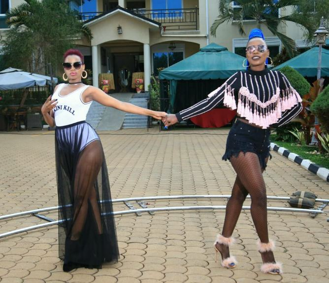 "Sheebah and Burundian singer Natacha in ""Wangu"" video shoot."