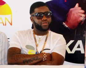 Skales addresses media at a press conference held at Silver Springs Hotel