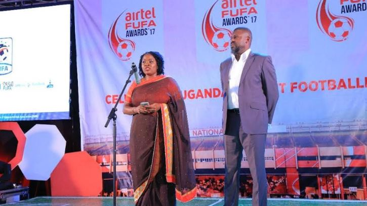 Airtel Uganda Branding and Communications Manager, Remmie Kisakye giving her remarks at the award gala.