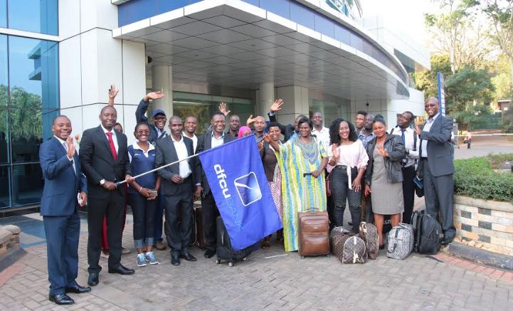 The Top 20 Investment Clubs in the recently concluded dfcu 'Battle for Cash' Investment Clubs Competition flew out on Monday for the Nairobi Study Tour. The flag off was presided over by Mr. William Sekabembe, dfcu Chief of Business and Executive Director (2nd left)