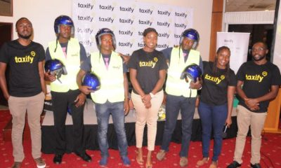 The team from Taxify poses for a group photo