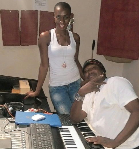 Cindy and producer Washington in studio