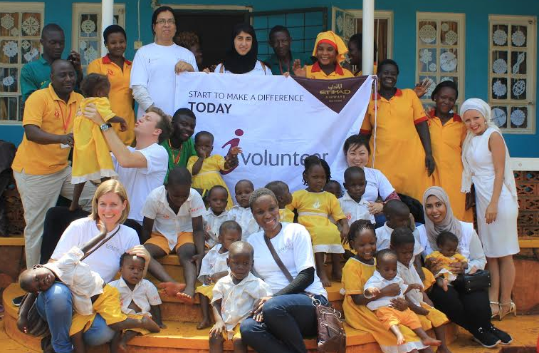 Etihad Airways i-Volunteers with the children at the Whispers Home
