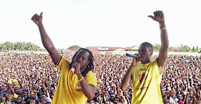 Bebe Cool and Chameleone perform at Museveni's rally
