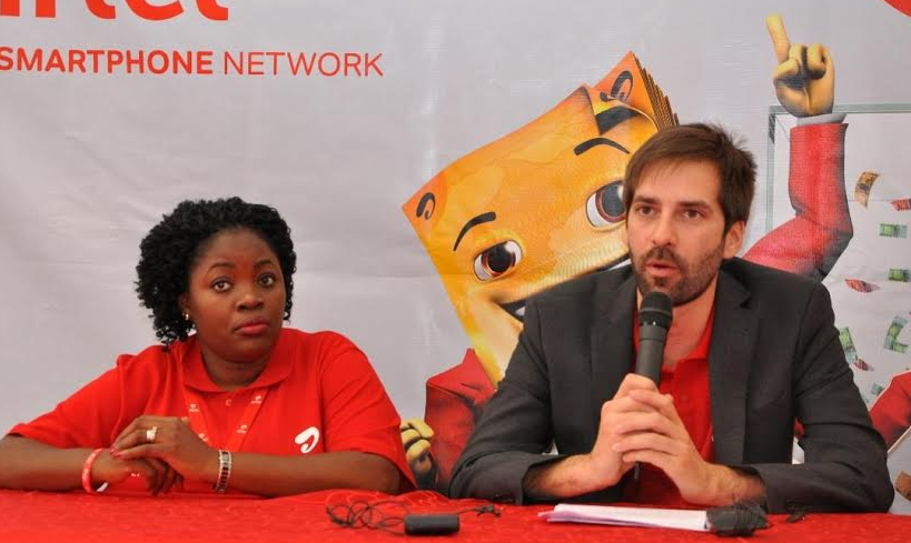 Airtel Money Director Paul Langlois addresses journalists during the launch of 'Yoola Amajja' campaign.