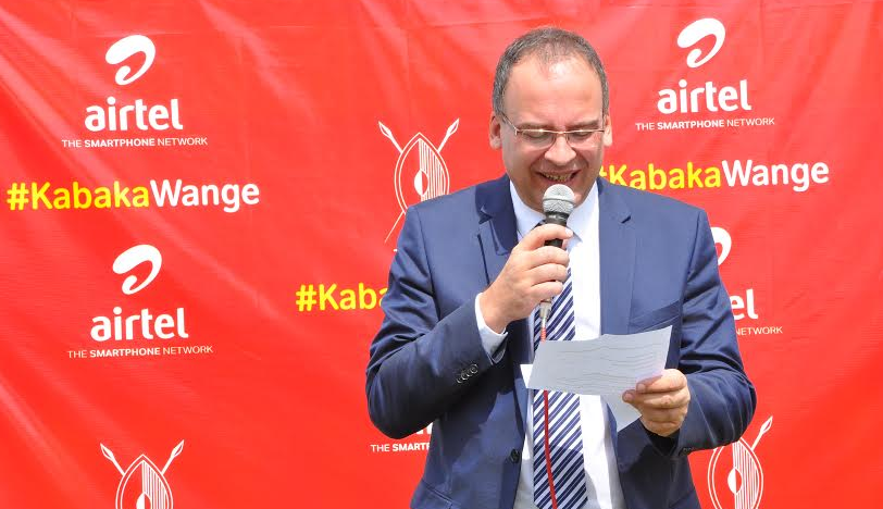 Airtel Uganda Managing Director, Tom Gutjahr giving a speech during the launch of the 3rd edition of the Kabaka's Birthday run.