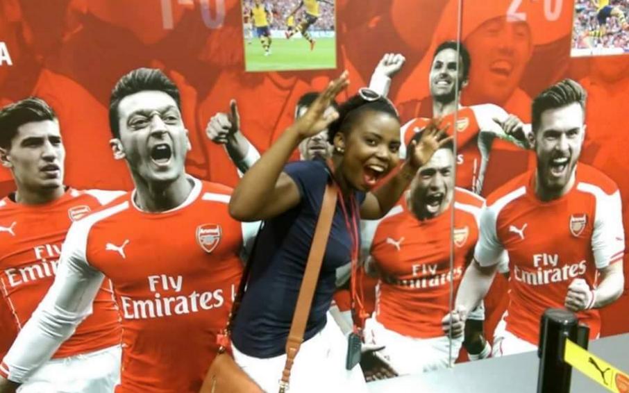Mary Luswata visits Arsenal stadium