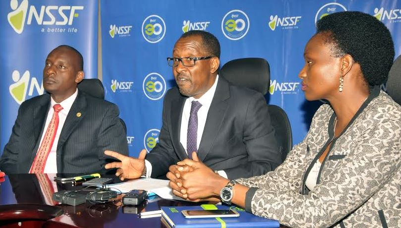 Richard Byarugaba the Managing Director of NSSF Uganda addressing press. Looking on is Stevens Mwanje the head of Sales and Operations and Barbra Arimi the head of Marketing and Communication at the launch of Friends with benefits campaign on 30 May 2016 at Workers House.