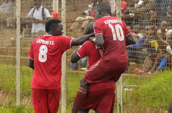 Express FC players celebrate a goal